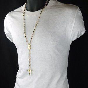 14kt Gold 5mm Jesus Cross Necklace!